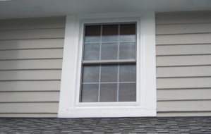 New double hung windows on a house in New Berlin, Wisconsin